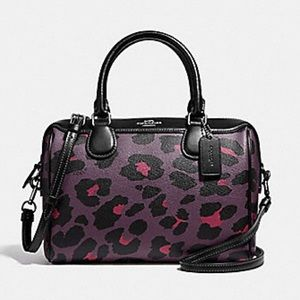 Coach Mini Bennett Leopard Satchel Oxblood NEW